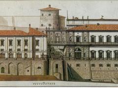 Prospetto principale del palazzo Chigi Albani e fonte Papacqua