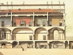 Sezione longitudinale del palazzo Chigi Albani e fonte Papacqua