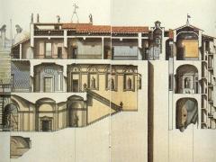 Sezione trasversale del palazzo Chigi Albani e fonte Papacqua