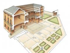 Sezione prospettica del palazzo di Antonio Doria