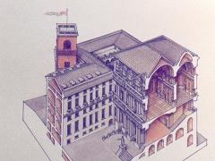 Sezione prospettica di Palazzo Ducale