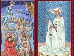 Il matto, l'eremita, fante di danari, il mondo, la giustizia, cavallo di spade